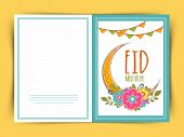 stock photo of crescent  - Elegant greeting card decorated with golden crescent moon - JPG