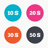 stock photo of twenty dollars  - Circle buttons - JPG