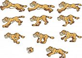 picture of saber-toothed  - Saber tooth tiger running - JPG