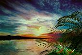 stock photo of vegetation  - 3D illustration tropical landscape at sunset - JPG