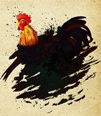 foto of roosters  - Colorful rooster illustration with grunge ink splatters on paper background - JPG