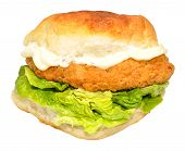picture of southern fried chicken  - Southern fried chicken sandwich with lettuce and mayonnaise isolated on a white background - JPG