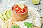 foto of cilantro  - tomato salsa Pico de Gallo with cilantro pesto quesadilla - JPG