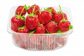 pic of picking tray  - Transparent plastic tray with freshly picked strawberries - JPG