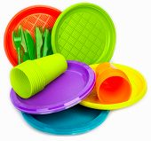 Постер, плакат: Bright plastic dishes with cups and forks