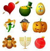 image of hanukkah  - Holiday symbols set featuring St - JPG
