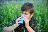 stock photo of excrement  - A teen boy with allergies in flowering herbs - JPG