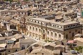 stock photo of city hall  - The town hall of the baroque city of Scicli seen from above in southern Sicily Italy - JPG