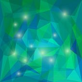 foto of jade blue  - Abstract green and blue colored polygonal vector triangular geometric background with bright glaring lights for use in design for card invitation poster banner placard or billboard cover - JPG