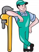 stock photo of overalls  - Illustration of a plumber in overalls and hat leaning on a giant monkey wrench looking to the side set on isolated white background done in cartoon style - JPG