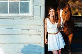stock photo of horse girl  - Girl and Horse - JPG
