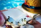 image of beach shell art  - art Straw hat book and Sunglasses on the beach - JPG
