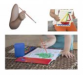 foto of finger-painting  - collage childrens hand with brush baby boat painting on the figure - JPG