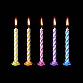 stock photo of candle flame  - Birthday Candles Flame Fire Light Isolated on Background - JPG