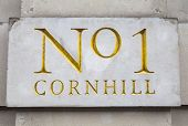 image of plaque  - Wall plaque marking Number 1 Cornhill in London - JPG