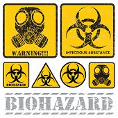 stock photo of hazardous  - set of signs warning of biological hazards - JPG