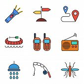 stock photo of mosquito  - Camping flat vector icon set for web and mobile applications - JPG