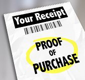image of receipt  - Proof of Purchase words on a paper receipt with barcode from a store or seller of products you bought - JPG