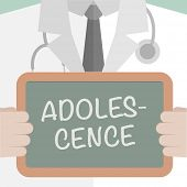pic of adolescent  - minimalistic illustration of a doctor holding a blackboard with Adolescence text - JPG