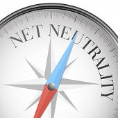 picture of neutral  - detailed illustration of a compass with net neutrality text - JPG