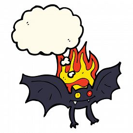 picture of vampire bat  - cartoon vampire bat with thought bubble - JPG