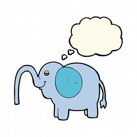 picture of squirt  - cartoon elephant squirting water with thought bubble - JPG