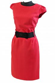 foto of dress mannequin  - classic red dress with black belt on a mannequin on a white background isolated - JPG