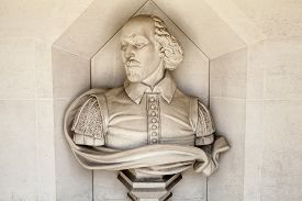stock photo of william shakespeare  - A sculpture of famous playwright William Shakespeare situated outside Guildhall Art Gallery in London - JPG