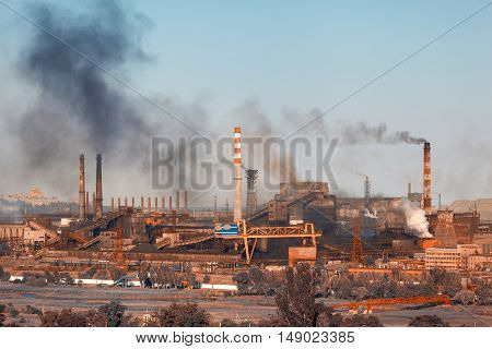 Steel Mill, Metallurgy Plant. Heavy Industry Factory