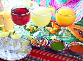 stock photo of poblano  - margarita sex on the beach cocktail beer and tequila Mexican beverages - JPG
