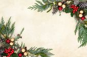 Christmas decorative background border with red and gold bauble decorations, holly, mistletoe and sn poster