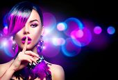 Sexy Beautiful fashion woman with purple dyed hair fringe hairstyle and violet color accessories, ne poster
