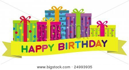 poster of Colorful birthday gift boxes with a yellow banner wishing 'Happy Birthday'.  Gradient free illustrat