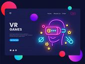 Vr Games Website Concept Banner Vector Design Template. Gamer Light Banner In Neon Style, Virtual Re poster