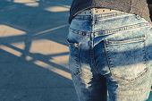 Woman In Blue Denim Jeans View Of Body Without Face poster