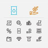 Economy Icons Set. Petroleum And Economy Icons With Staff Training, Hand Money, Agriculture Investme poster