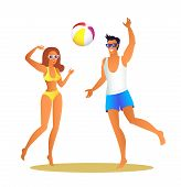 Man And Woman In Swimwear Play Volleyball On Beach. Girl And Guy Throw Inflatable Ball. Young Couple poster