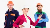 Team Of Architects, Builders With Woman Manager, Isolated White Background. Woman In Hard Hat With S poster