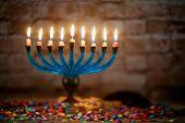 Jewish Holiday, Holiday Symbol Hanukkah Brightly Glowing Hanukkah Menorah Soft Focus poster