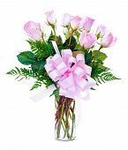 picture of one dozen roses  - One dozen pink roses flower arrangement in glass vase for Valentine - JPG