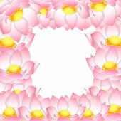 Pink Indian Lotus Border. (nelumbo Nucifera,sacred Lotus, Bean Of India, Egyptian Bean. National Flo poster