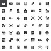 Post Vector Icons Set, Modern Solid Symbol Collection, Filled Style Pictogram Pack. Signs, Logo Illu poster