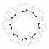 Indian Lotus Outline Wreath. (nelumbo Nucifera,sacred Lotus, Bean Of India, Egyptian Bean. National  poster