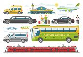 Transport Vector Public Transportable Vehicle Bus Or Train And Car For Transportation In City Illust poster