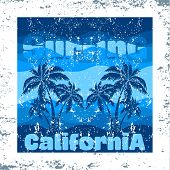 T-shirt Surfing California, Graphic Print Design, Granje Texture, Surfers Print Stamp, Vector Surf A poster