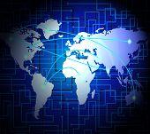 Interconnected Globe World Technology Link 2D Illustration poster