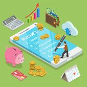 Online Family Budget Flat Isometric Vector Concept. Man Is Planning The Family Budget And Write Down poster