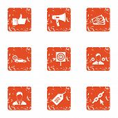 Expensive Deal Icons Set. Grunge Set Of 9 Expensive Deal Vector Icons For Web Isolated On White Back poster