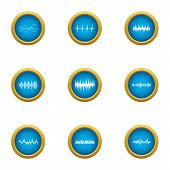 Pulse Icons Set. Flat Set Of 9 Pulse Vector Icons For Web Isolated On White Background poster