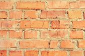 Texture Of A  Brick Wall Background In The Countryside . Rough Blocks Of Stone Brick Masonry Horizon poster